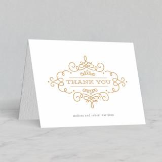 """Ornate Monogram"" - Preppy Letterpress Thank You Cards in Gold by Kristen Smith."