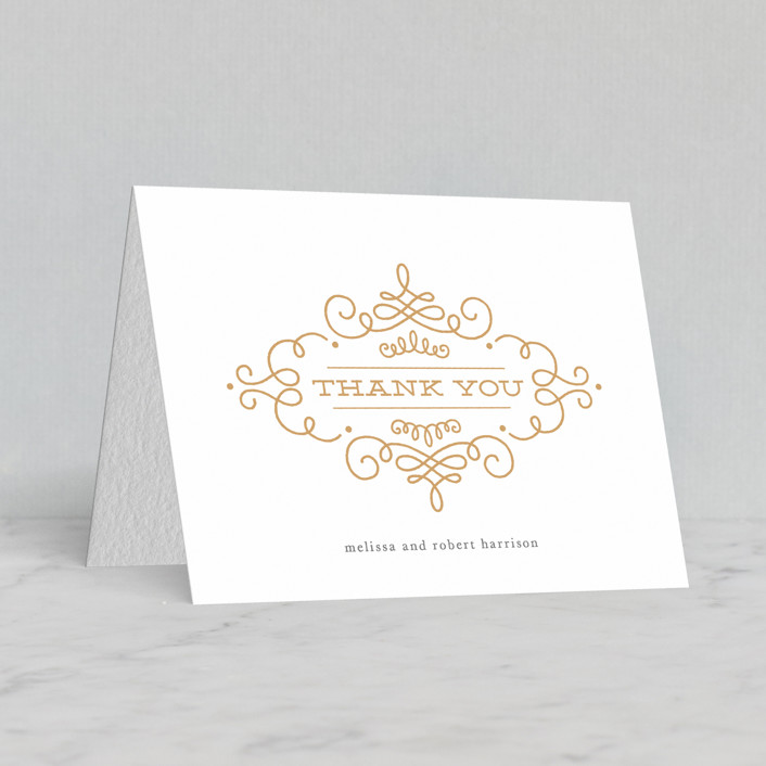 """Ornate Monogram"" - Traditional, Traditional Letterpress Thank You Cards in Gravel 