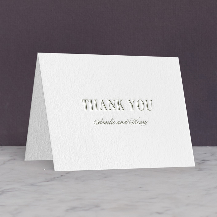 """""""Hepburn"""" - Letterpress Thank You Cards in Moss by Toast & Laurel."""