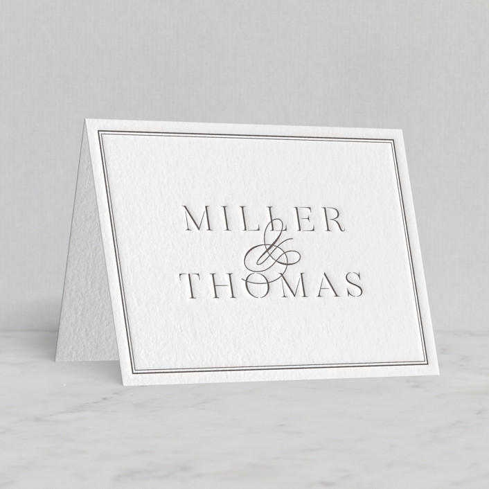 """stencil classic"" - Letterpress Thank You Cards in Graphite by Sara Hicks Malone."