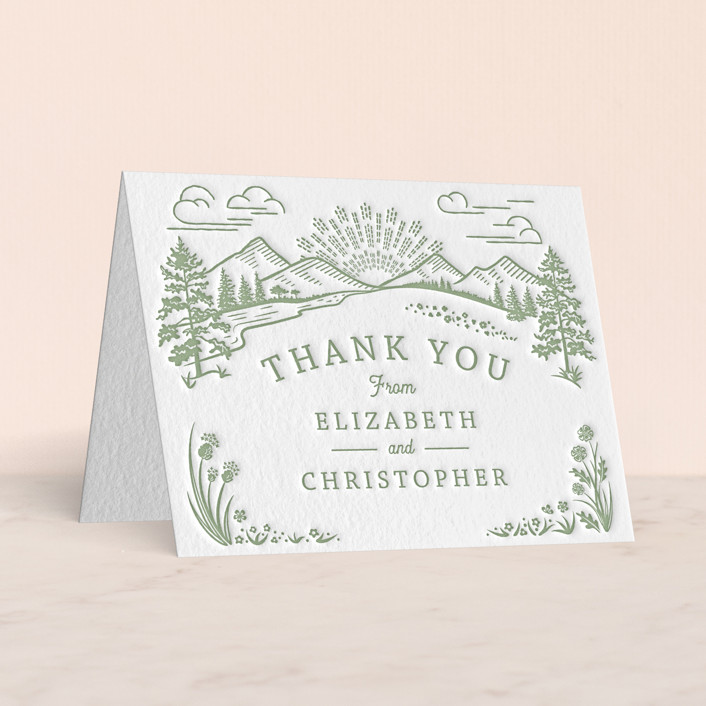 """""""On The Horizon"""" - Letterpress Thank You Cards in Mint by Paper Sun Studio."""
