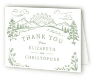 This is a green wedding thank you card by Paper Sun Studio called On The Horizon with letterpress printing on coventry320 in standard.