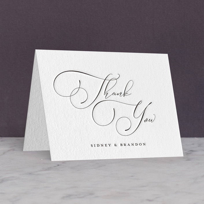 """Lightly Penned"" - Letterpress Thank You Cards in Soft Black by Jessica Williams."