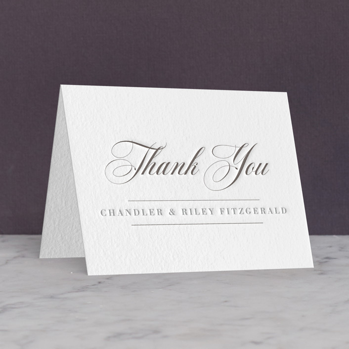 """""""The Classic"""" - Letterpress Thank You Cards in Graphite 