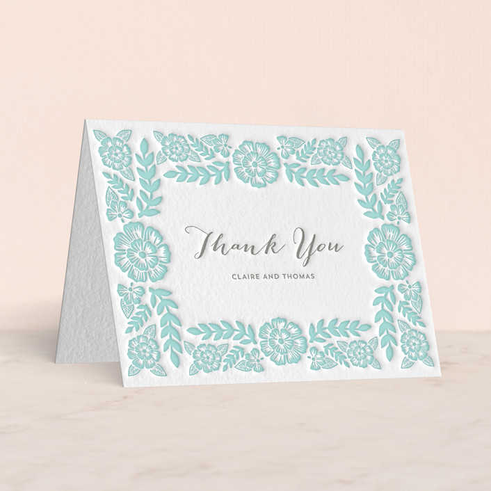 """""""Folk Floral"""" - Letterpress Thank You Cards in Sea by Katharine Watson."""