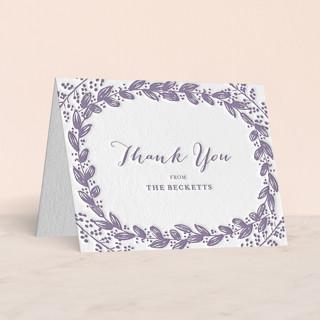 """Vintage Flora"" - Floral & Botanical Letterpress Thank You Cards in Lavender by Sarah Curry."