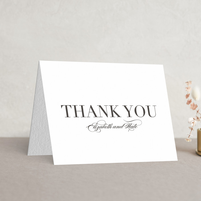"""""""Classic"""" - Traditional, Simple Letterpress Thank You Cards in Soft Black by Lauren Chism."""