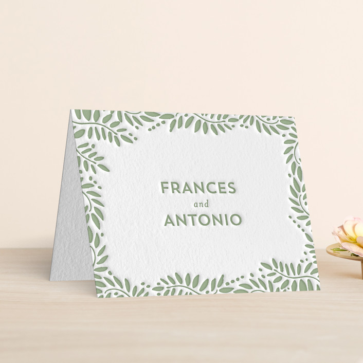 """Filigree"" - Floral & Botanical Letterpress Thank You Cards in Mint by Phrosne Ras."