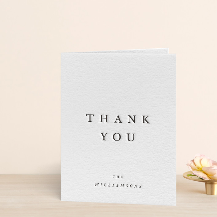 """Johannis"" - Simple Letterpress Thank You Cards in Soft Black by Jack Knoebber."