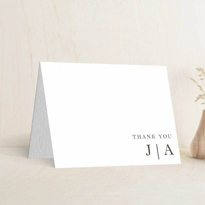 """""""Sophistotype"""" - Simple Letterpress Thank You Cards in Soft Black by Snow and Ivy."""