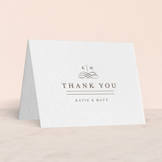 """A Glamorous Affair"" - Preppy Letterpress Thank You Cards in Cement by Kristen Smith."