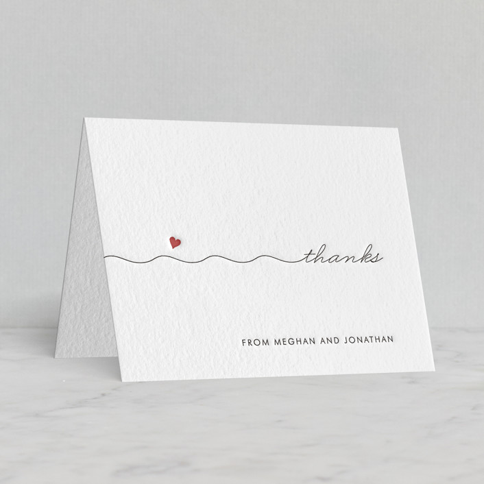 """""""Love Connection"""" - Letterpress Thank You Cards in Soft Black   Rosewood by Kim Dietrich Elam."""