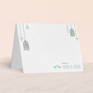 """""""Love Let Loose"""" - Whimsical & Funny Letterpress Thank You Cards in Sea by Paisley Tree Press."""