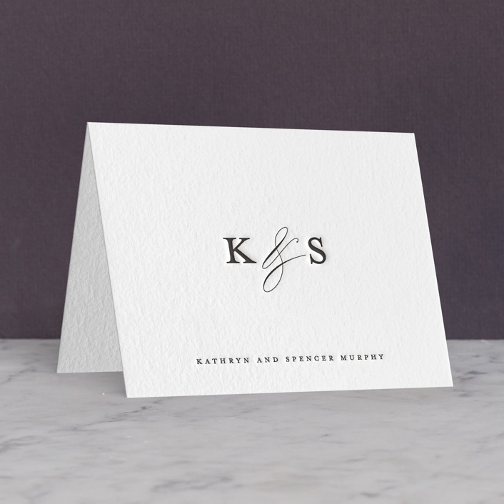 """""""classic composition"""" - Letterpress Thank You Cards in Soft Black by Olivia Raufman."""