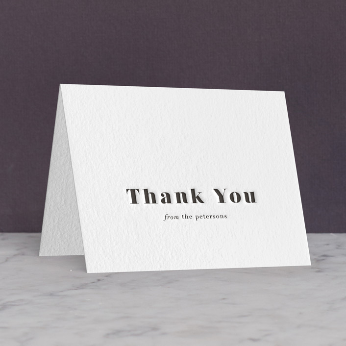 """Modern Love"" - Letterpress Thank You Cards in Soft Black by ASQ Studio."