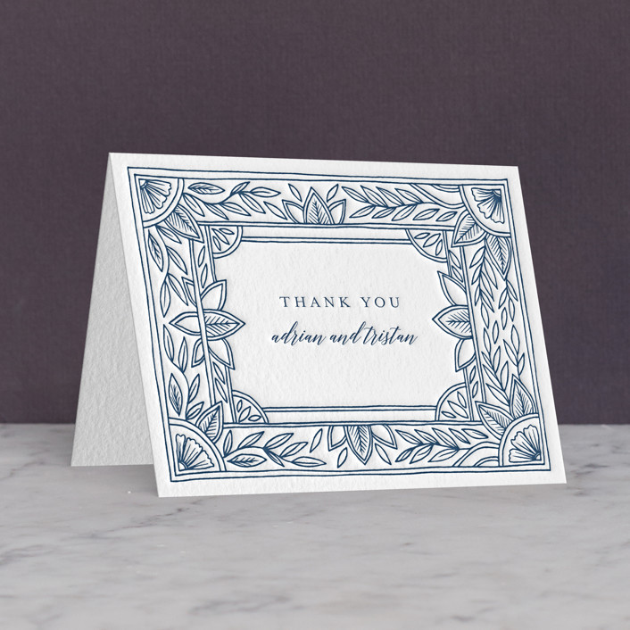 """Handmade Ornate Frame"" - Letterpress Thank You Cards in Indigo by Katharine Watson."