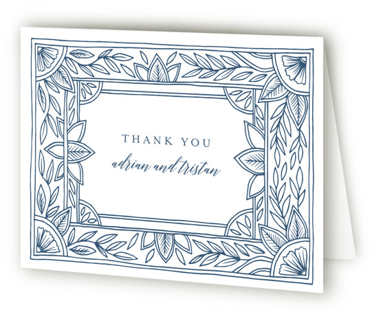 Handmade Ornate Frame Letterpress Thank You Cards