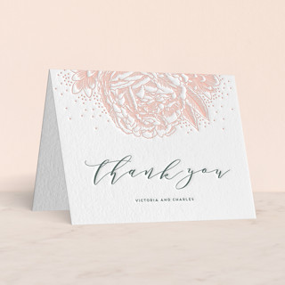 """Peony Love"" - Letterpress Thank You Cards by iamtanya."