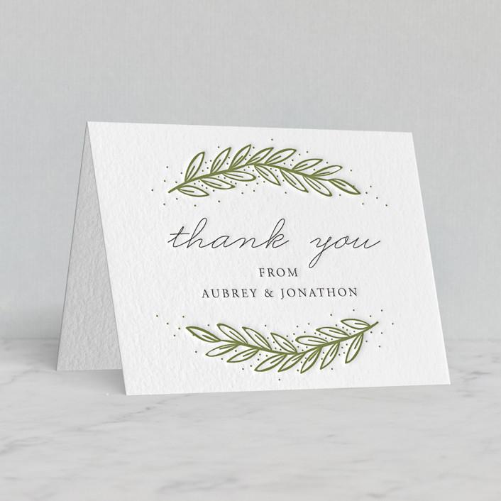 """Winter's Frame"" - Letterpress Thank You Cards in Pistachio by Oma N. Ramkhelawan."