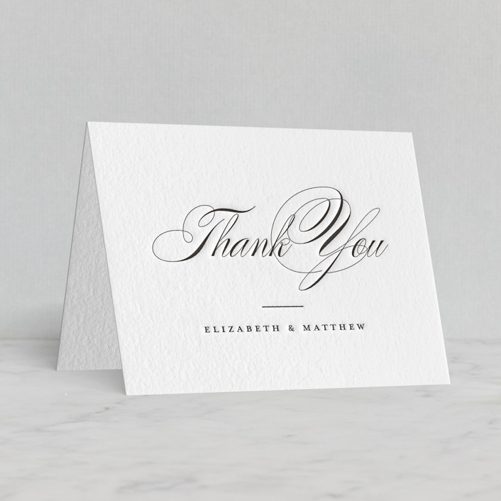 """""""Eloquence"""" - Letterpress Thank You Cards in Soft Black by Jessica Williams."""
