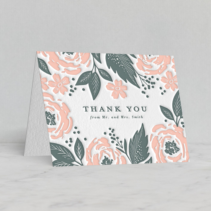 """""""Punchy Peonies"""" - Letterpress Thank You Cards in Provincial Blue by Alethea and Ruth."""