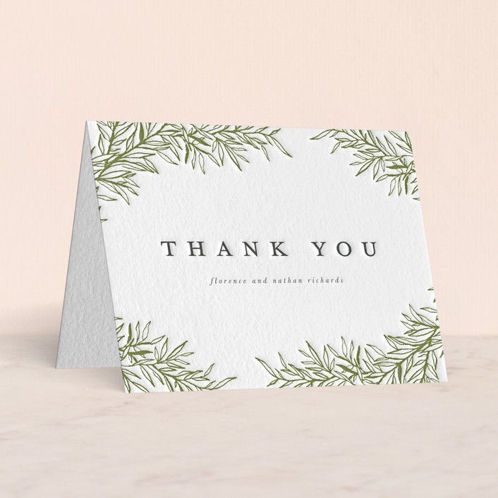 """Delicate Vines"" - Letterpress Thank You Cards in Pistachio 