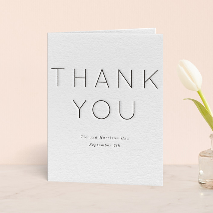 """Pencil Thin"" - Letterpress Thank You Cards in Soft Black by Baumbirdy."