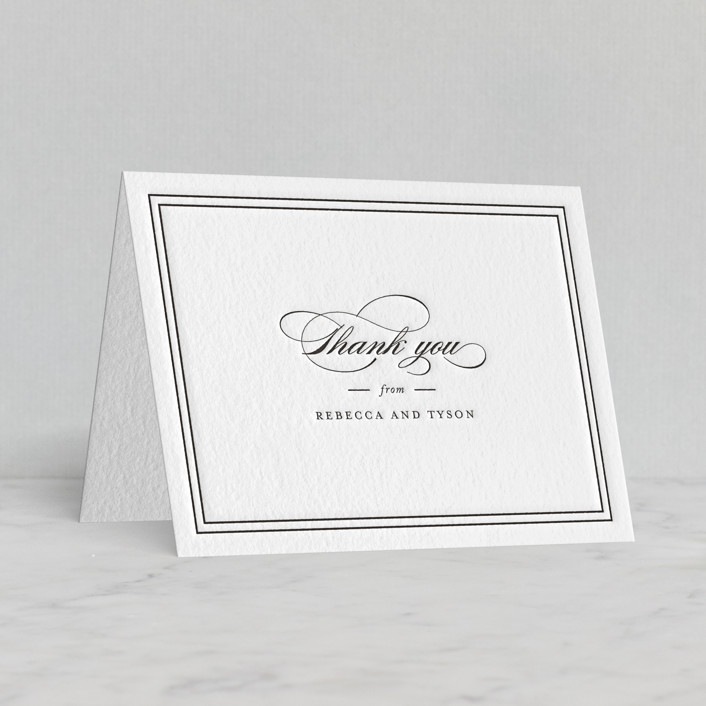 """""""Eloquence"""" - Letterpress Thank You Cards in Soft Black by Kimberly FitzSimons."""