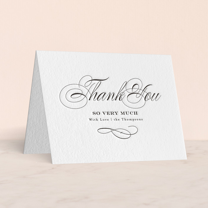 """""""Timeless Elegance"""" - Letterpress Thank You Cards in Soft Black by AK Graphics."""