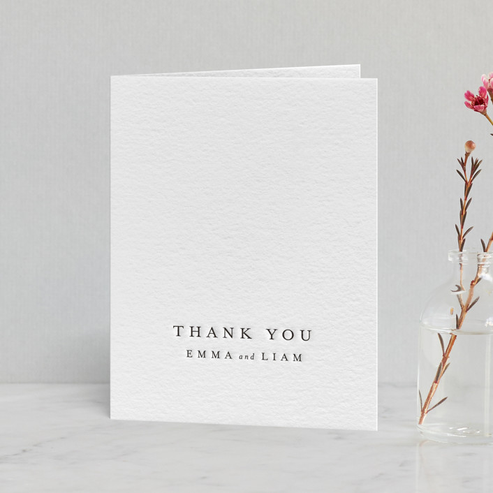 """A Thousand Years"" - Letterpress Thank You Cards in Soft Black by Design Lotus."