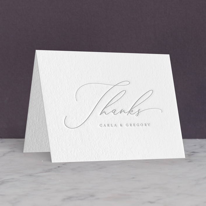 """""""Ethereal Elegance"""" - Letterpress Thank You Cards in Matte Silver by seulghi."""
