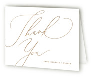 This is a wedding thank you card by Carolyn MacLaren called Romance with letterpress printing on coventry320 in standard.