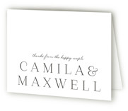 This is a wedding thank you card by Lauren Chism called Type Focus with letterpress printing on coventry320 in standard.