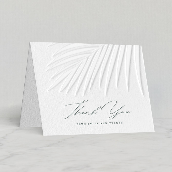 """Faded Palm"" - Letterpress Thank You Cards by Lauren Chism."