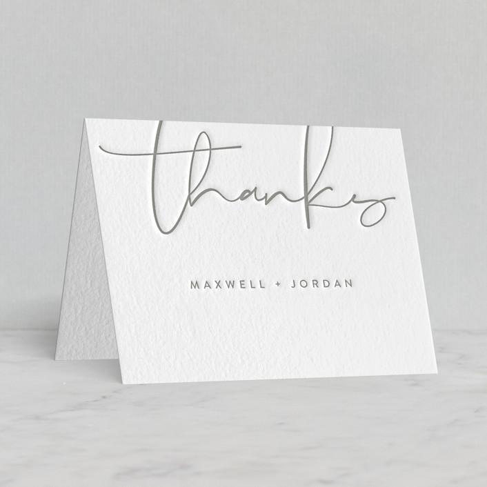 """Minimalist Script"" - Letterpress Thank You Cards by Christie Garcia."