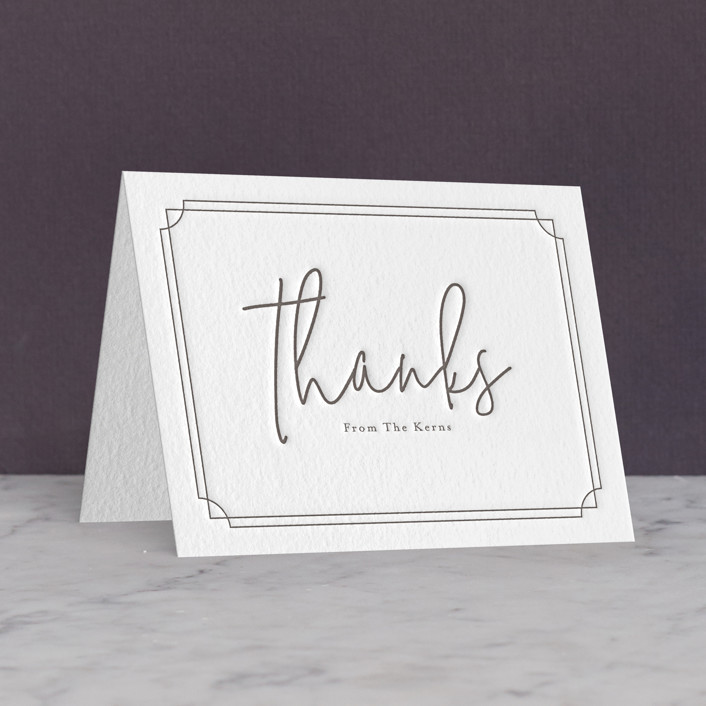 """""""Traditional Twist"""" - Letterpress Thank You Cards by Erin Deegan."""