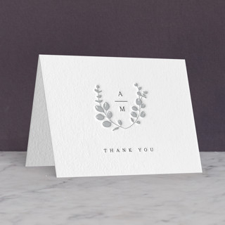"""Eucalyptus Monogram"" - Letterpress Thank You Cards by Carolyn MacLaren."