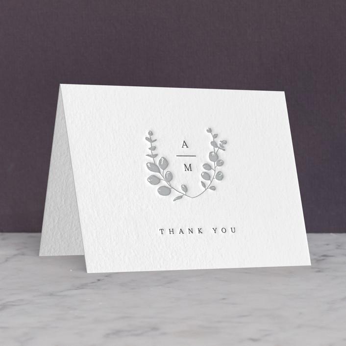 """Eucalyptus Monogram"" - Letterpress Thank You Cards by Carolyn MacLaren."