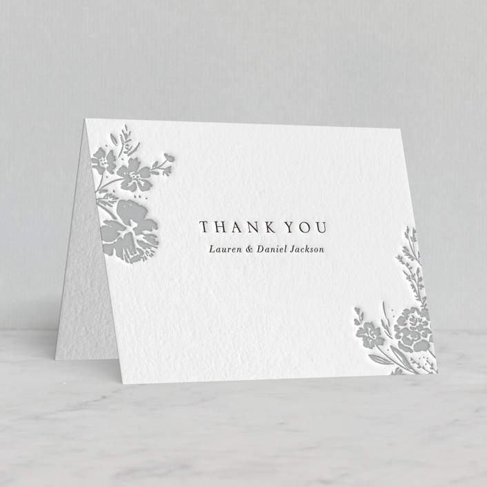 """""""Majestic Blooms"""" - Letterpress Thank You Cards by Petra Kern."""