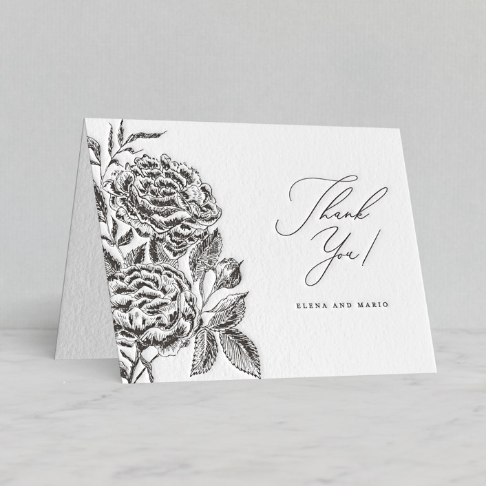 """Etchings of Roses"" - Letterpress Thank You Cards by Chris Griffith."