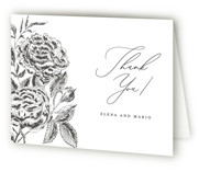 This is a wedding thank you card by Chris Griffith called Etchings of Roses with letterpress printing on coventry320 in standard.