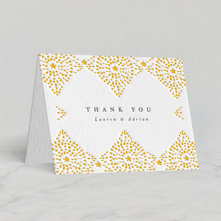 """Motif Pattern"" - Letterpress Thank You Cards by Kanika Mathur."