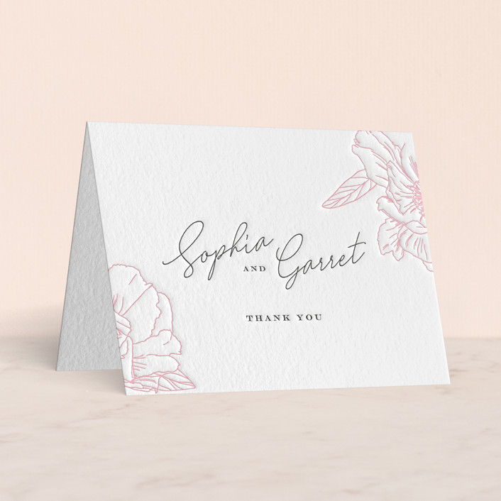 """""""Blushing"""" - Letterpress Thank You Cards by Nicoletta Savod."""