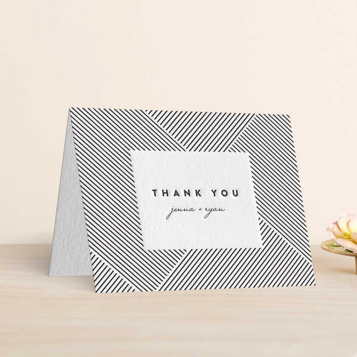 """Lined"" - Letterpress Thank You Cards in Soft Black by Christie Garcia."