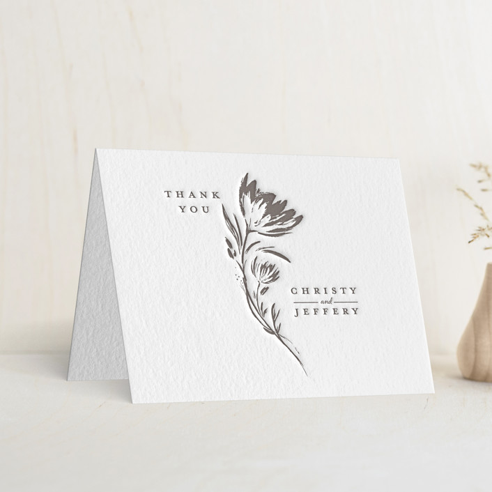 """""""Florals"""" - Letterpress Thank You Cards in Graphite by Vivian Yiwing."""