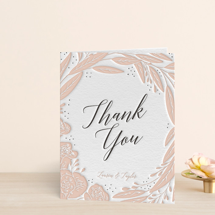 """""""Rose"""" - Letterpress Thank You Cards in Soft Black 