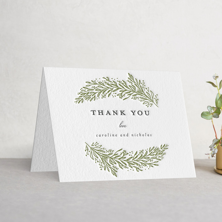 """Muted Verdure"" - Letterpress Thank You Cards in Pewter 