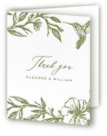 This is a green wedding thank you card by Grae called Eden with letterpress printing on coventry320 in standard.