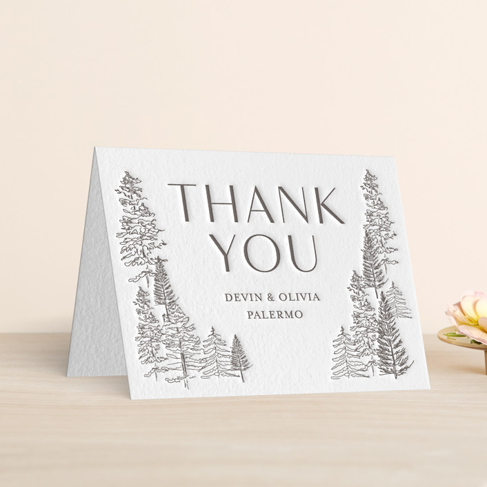 """""""Forest Frame"""" - Letterpress Thank You Cards in Graphite by Baumbirdy."""
