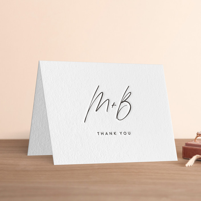 6 Letterpress Thank You Cards with Envelopes and Sticker Seals 4.25 x 5.... New